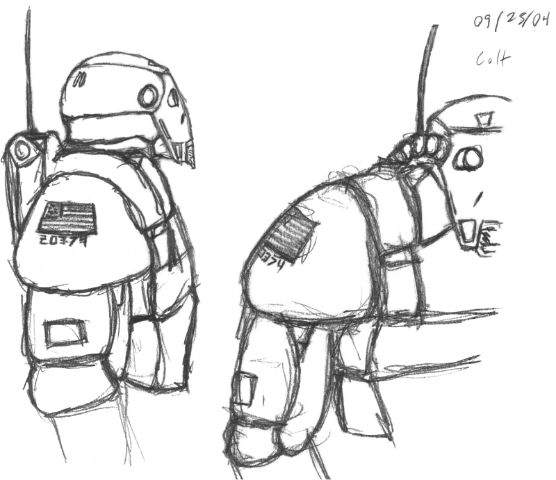 A Couple Of Sketches Light Power Armor Possibly Pre Fall By The Flag