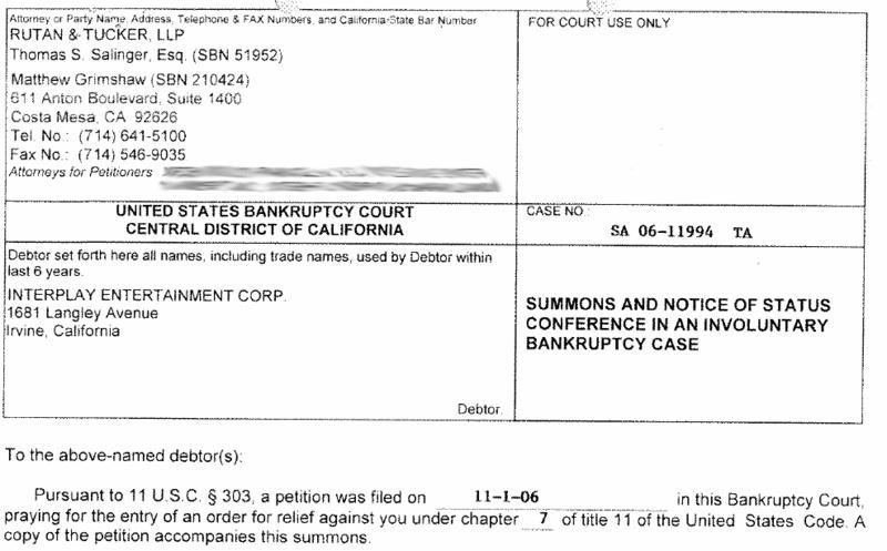 Interplay involuntary bankrupcy filing 2
