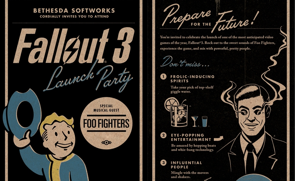 Fallout 3 launch party invitation