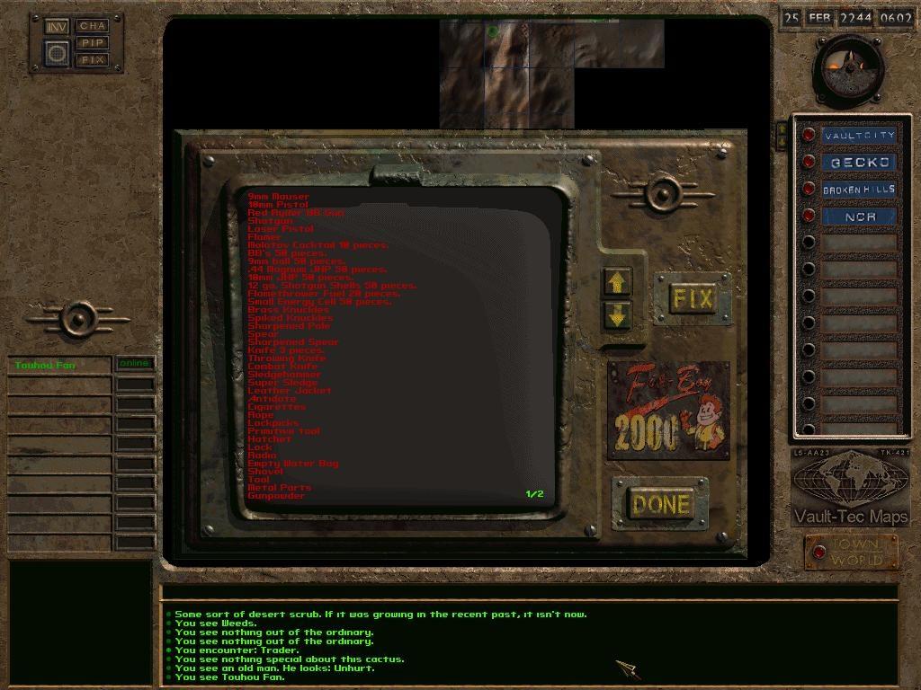 Fixboy Selection Screen