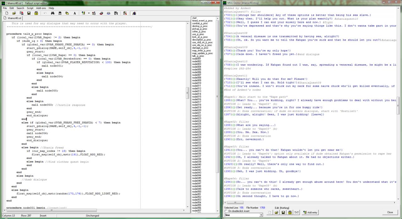 Mutants Rising dialogue editor screen