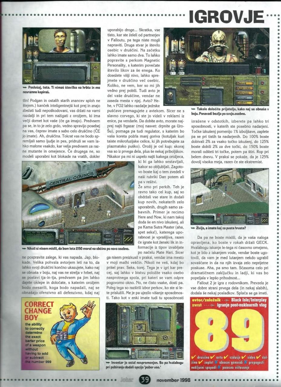Joker Fallout 2 review (1999) SLO
