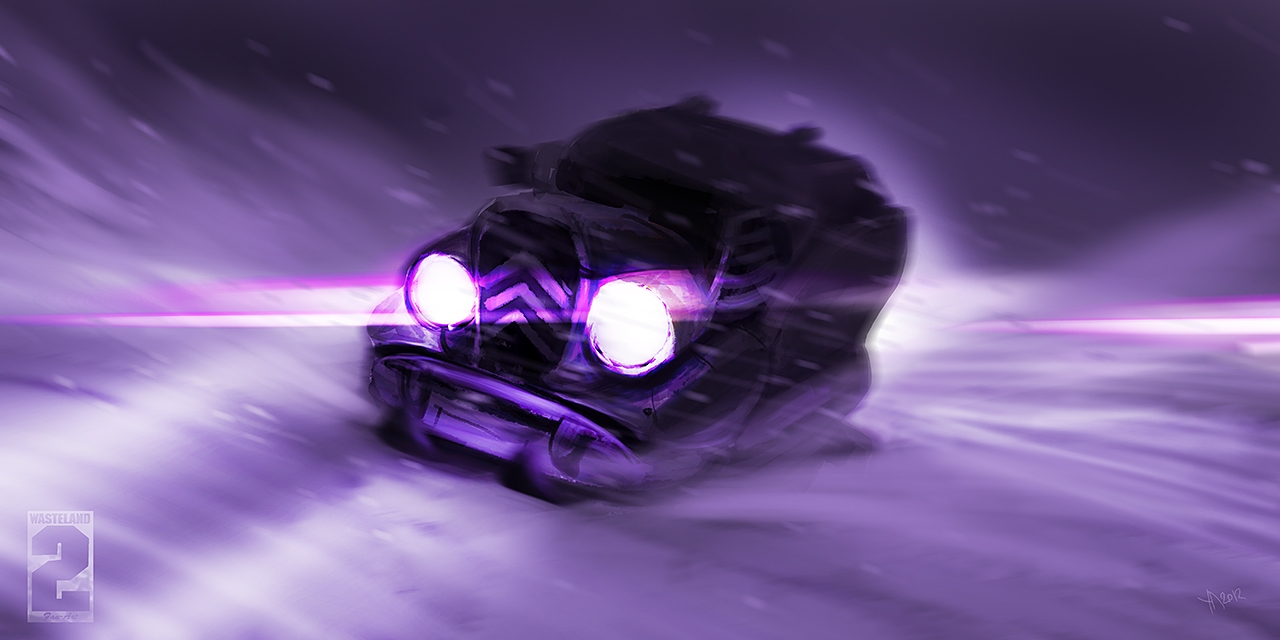 Snowmobile, with a retro-elements, nuclear-powered